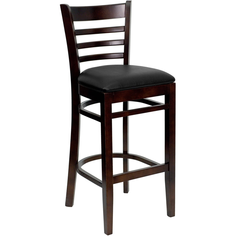 HERCULES Series Ladder Back Walnut Wood Restaurant Barstool - Black Vinyl Seat