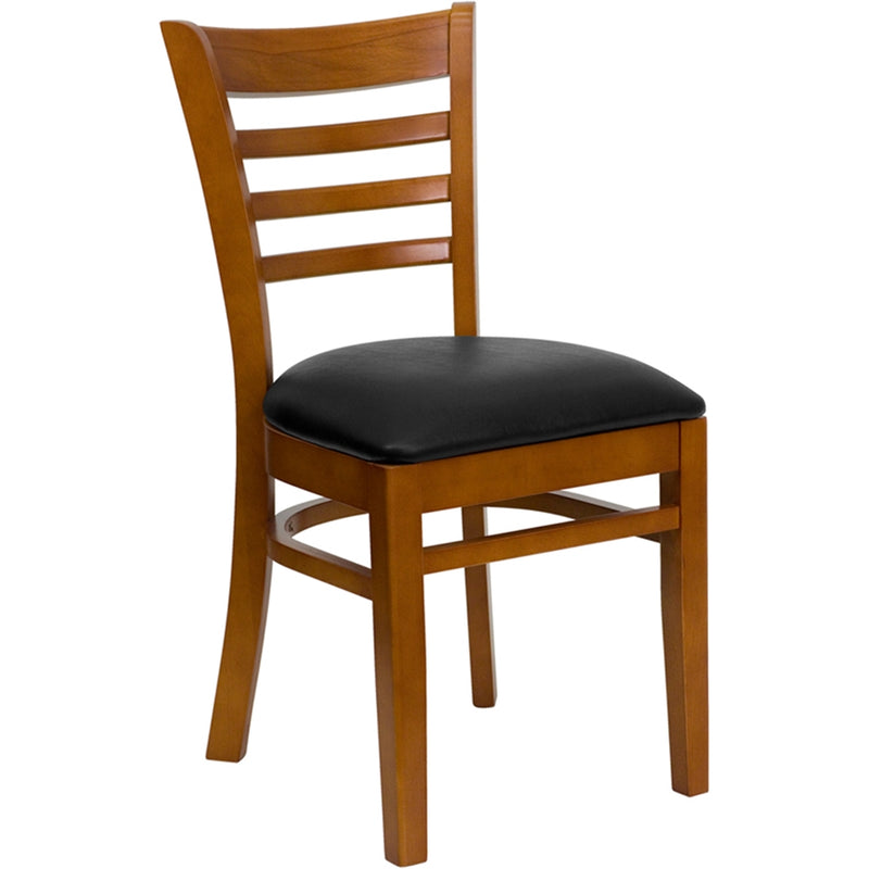 HERCULES Series Ladder Back Cherry Wood Restaurant Chair - Black Vinyl Seat