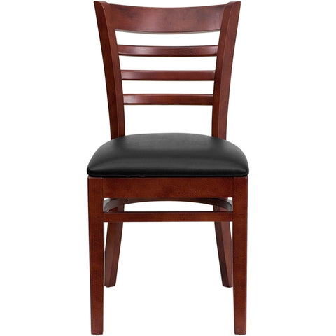HERCULES Series Ladder Back Mahogany Wood Restaurant Chair - Black Vinyl Seat