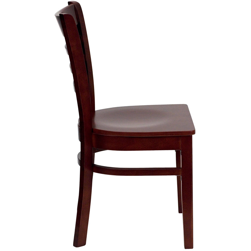 HERCULES Series Ladder Back Mahogany Wood Restaurant Chair