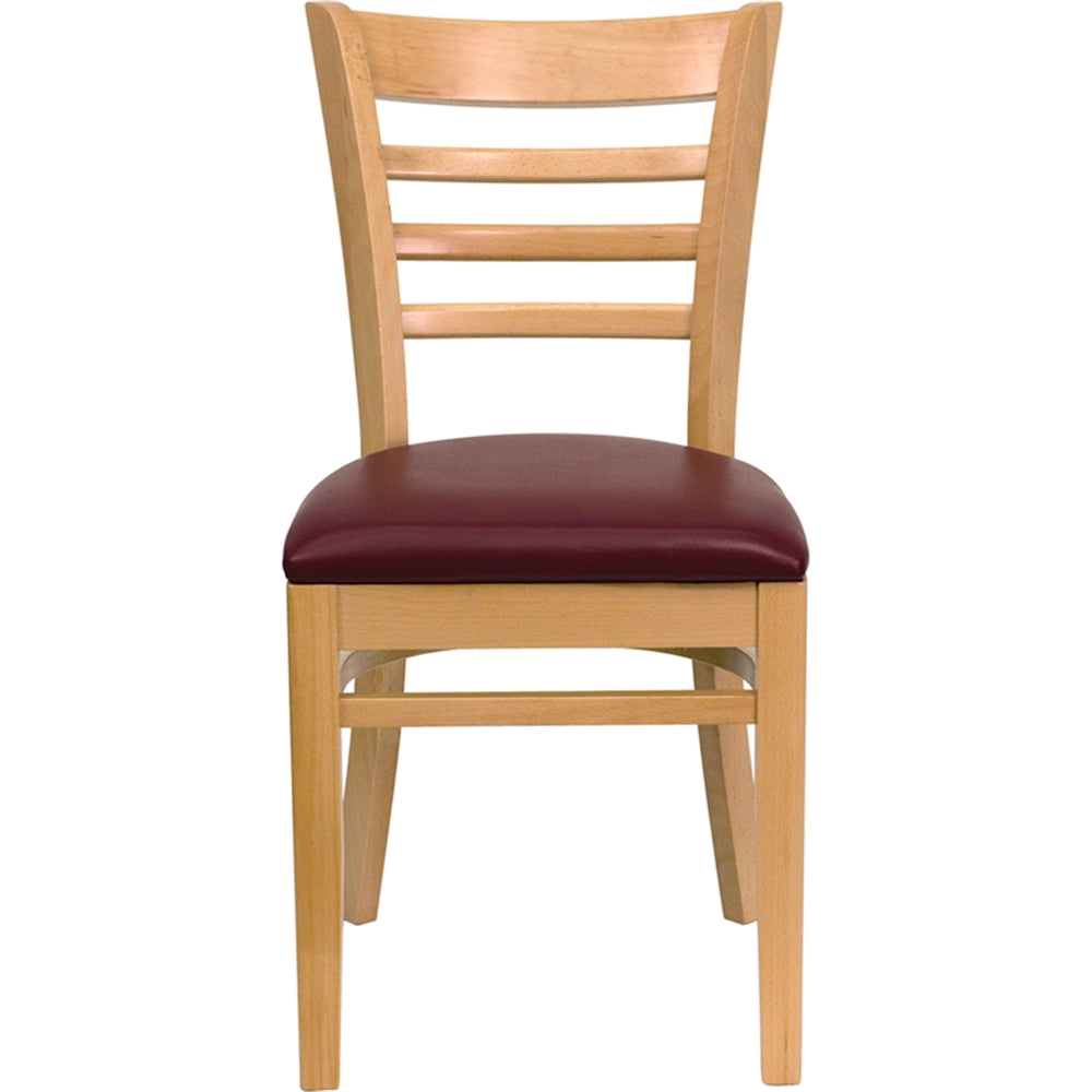 HERCULES Series Ladder Back Natural Wood Restaurant Chair - Burgundy Vinyl Seat
