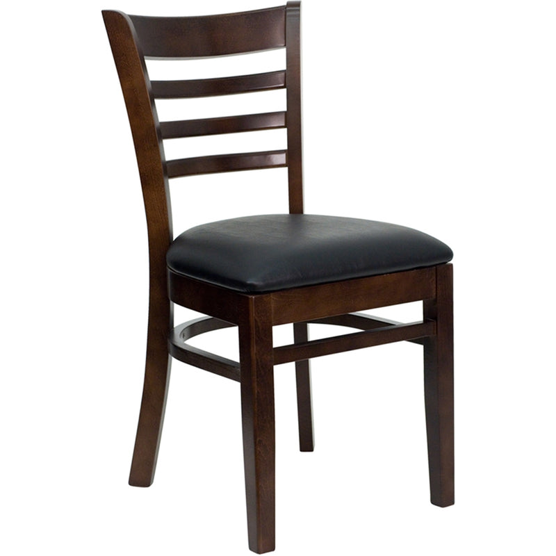 HERCULES Series Ladder Back Walnut Wood Restaurant Chair - Black Vinyl Seat