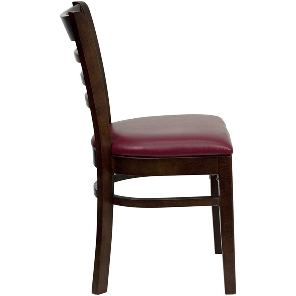 HERCULES Series Ladder Back Walnut Wood Restaurant Chair - Burgundy Vinyl Seat