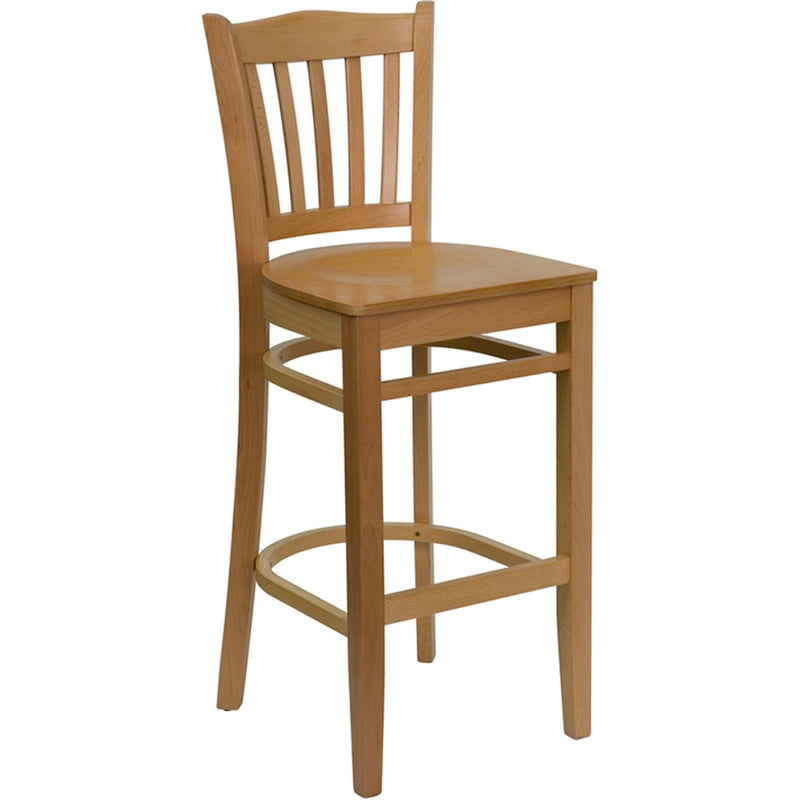 HERCULES Series Vertical Slat Back Natural Wood Restaurant Barstool