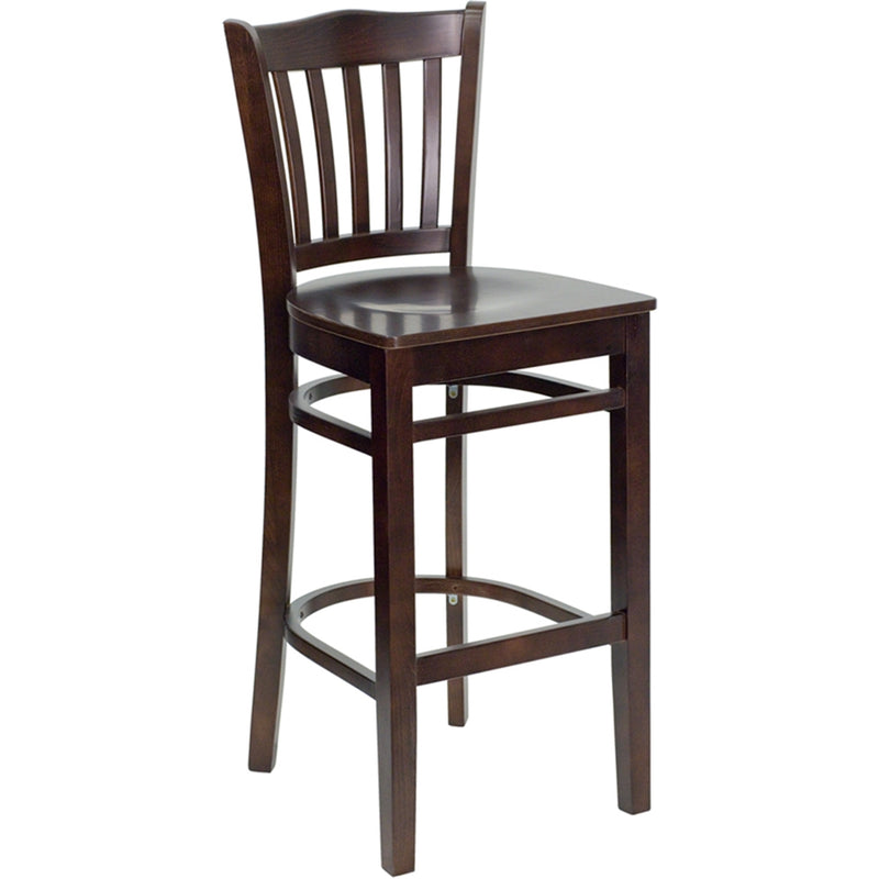 HERCULES Series Vertical Slat Back Walnut Wood Restaurant Barstool - Moda Seating Corp