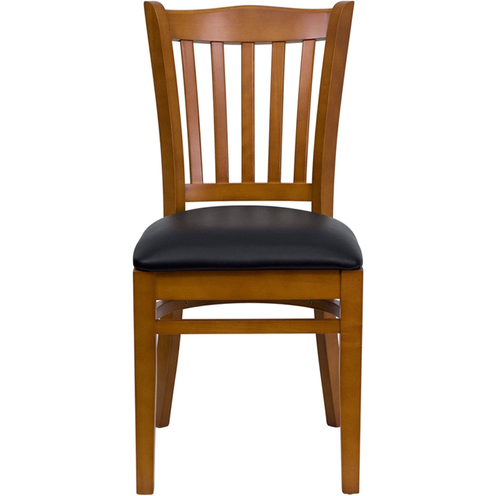HERCULES Series Vertical Slat Back Cherry Wood Restaurant Chair - Black Vinyl Seat