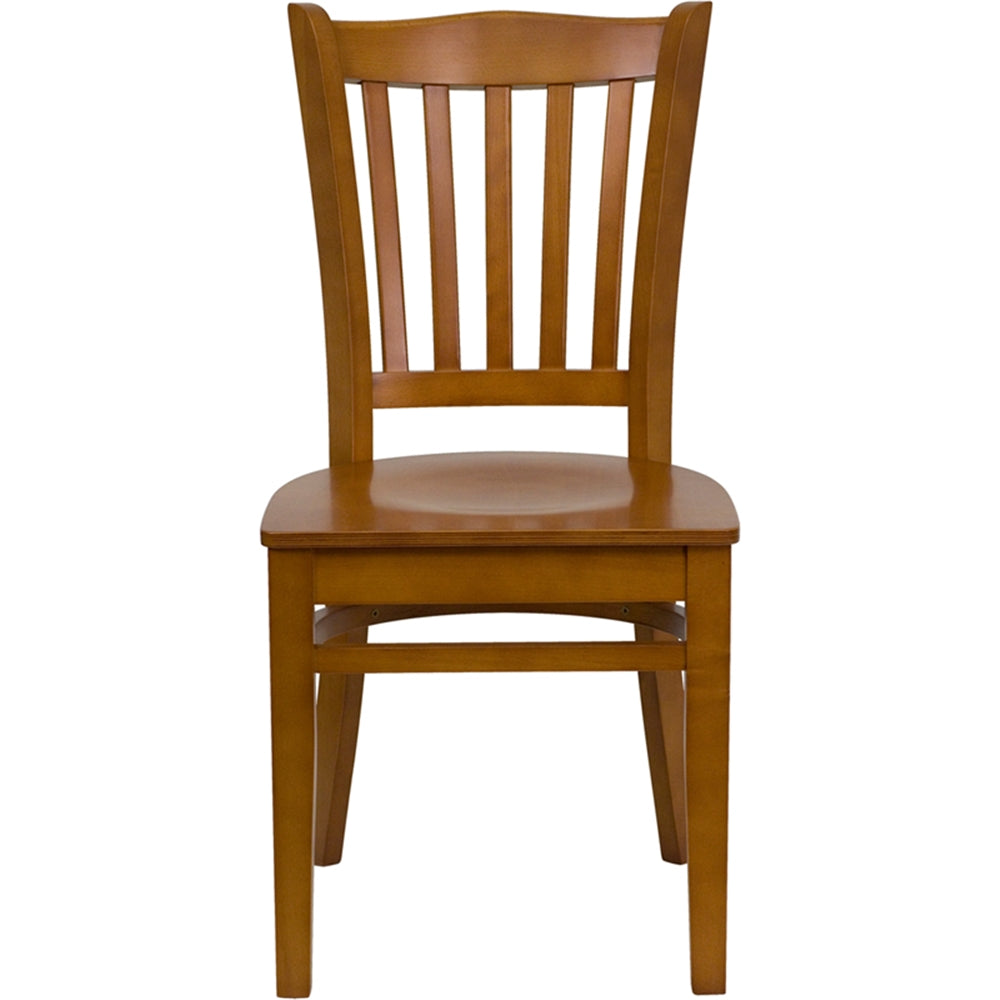 HERCULES Series Vertical Slat Back Cherry Wood Restaurant Chair