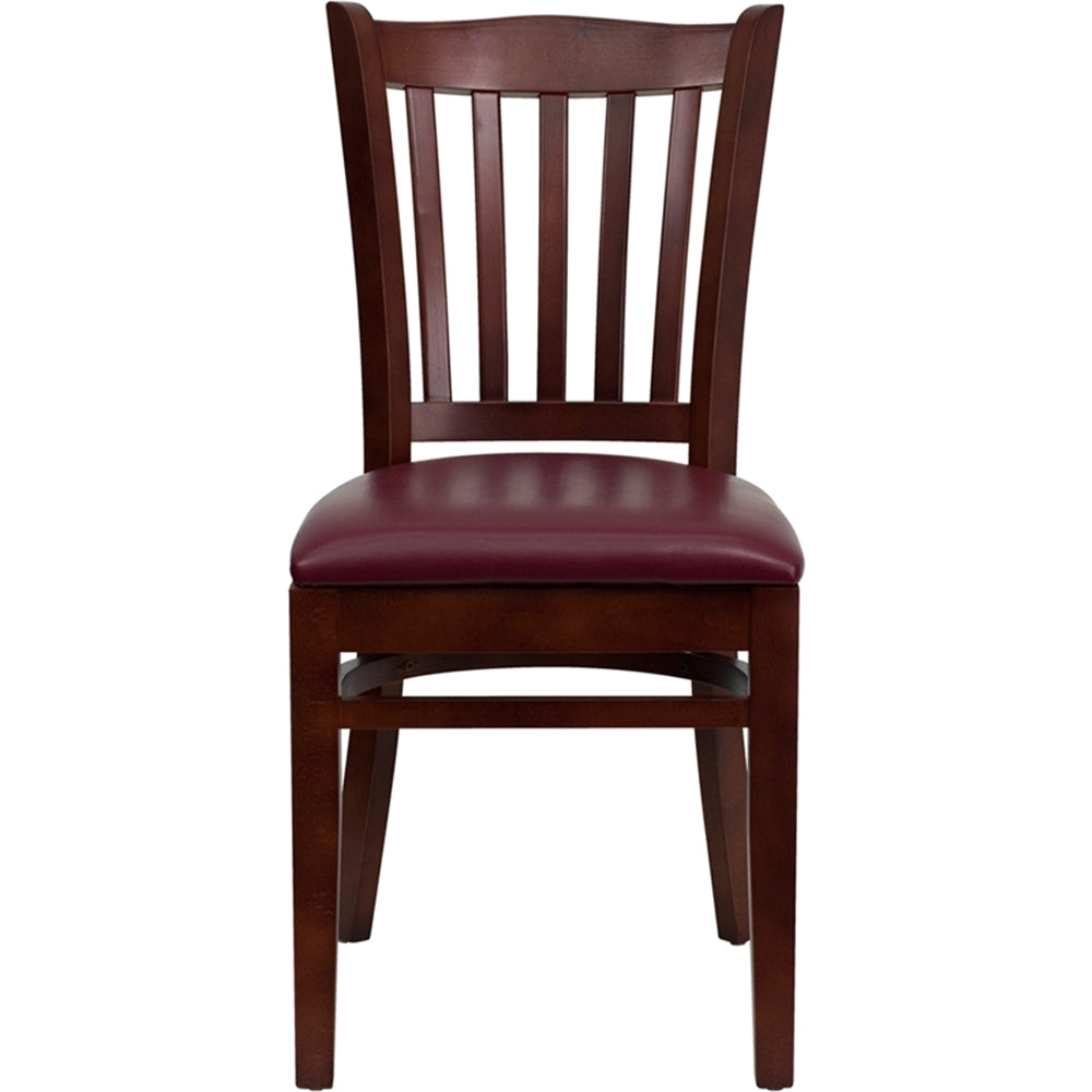 HERCULES Series Vertical Slat Back Mahogany Wood Restaurant Chair - Burgundy Vinyl Seat