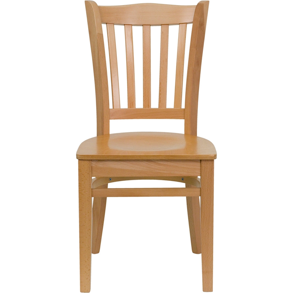HERCULES Series Vertical Slat Back Natural Wood Restaurant Chair