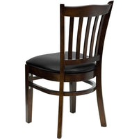 HERCULES Series Vertical Slat Back Walnut Wood Restaurant Chair - Black Vinyl Seat