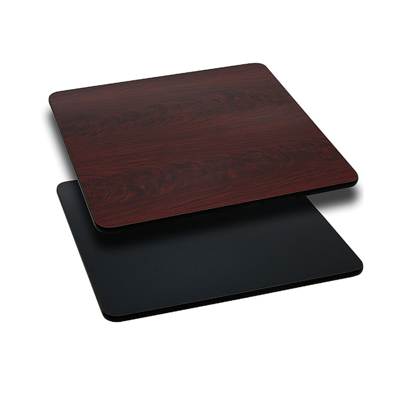 "30"" Square Table Top with Black or Mahogany Reversible Laminate Top - Moda Seating Corp"
