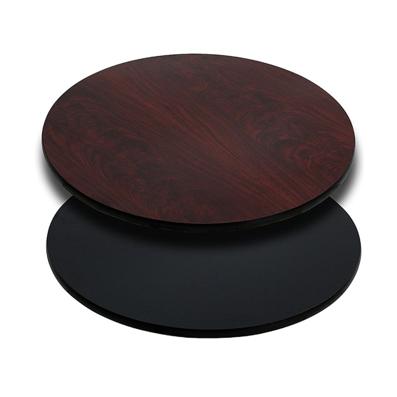 "30"" Round Table Top with Black or Mahogany Reversible Laminate Top"