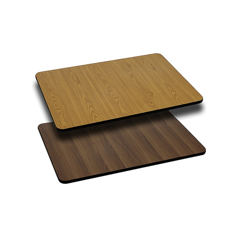 "24"" x 30"" Rectangular Table Top with Natural or Walnut Reversible Laminate Top"