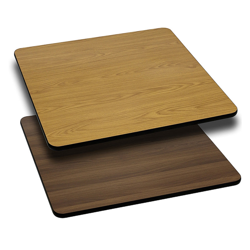 "30"" Square Table Top with Natural or Walnut Reversible Laminate Top - Moda Seating Corp"