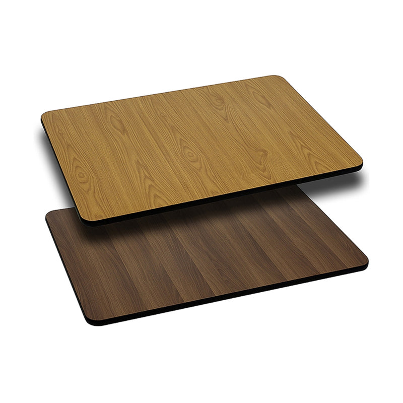 "30"" x 45"" Rectangular Table Top with Natural or Walnut Reversible Laminate Top - Moda Seating Corp"