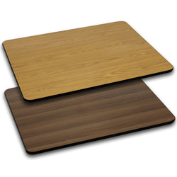 "30"" x 48"" Rectangular Table Top with Natural or Walnut Reversible Laminate Top"