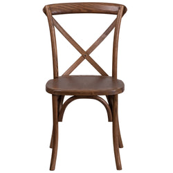 HERCULES Series Stackable Pecan Wood Cross Back Chair - Moda Seating Corp