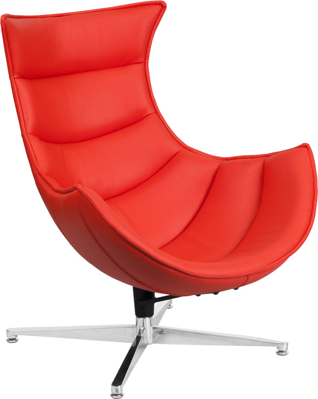 Groovy Red Leather Swivel Cocoon Chair Squirreltailoven Fun Painted Chair Ideas Images Squirreltailovenorg