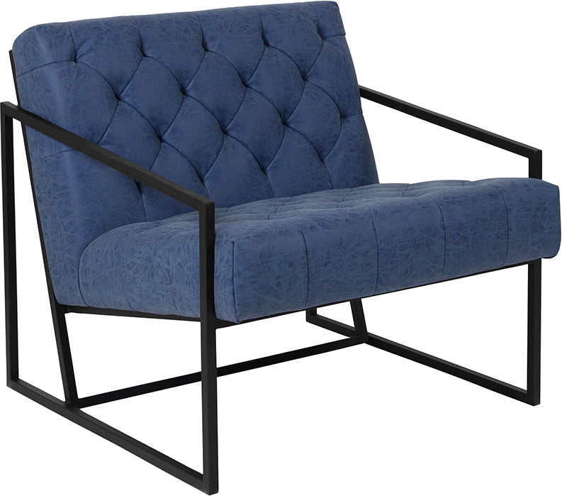 HERCULES Madison Series Retro Blue Leather Tufted Lounge Chair - Moda Seating Corp