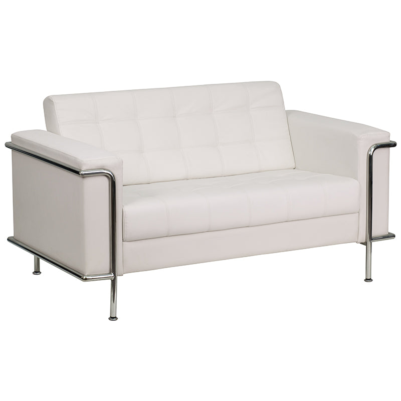 HERCULES Lesley Series Contemporary Melrose White Leather Loveseat with Encasing Frame - Moda Seating Corp