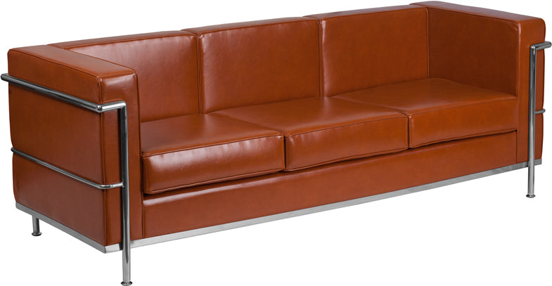 HERCULES Regal Series Contemporary Cognac Leather Sofa with Encasing Frame - Moda Seating Corp
