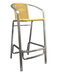 Aluminum and Yellow Outdoor Wicker Restaurant Bar Stool