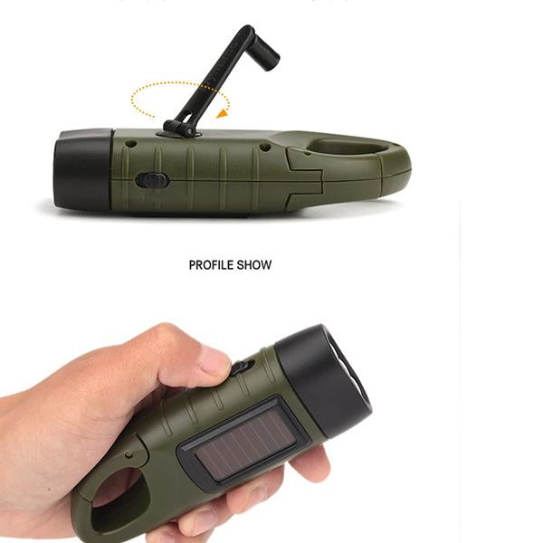 Hand Operated Solar Rechargeable Flashlight Emergency LED Light