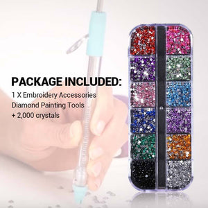 Embroidery Accessories Diamond Painting Tools (2000pcs Crystals For Free)