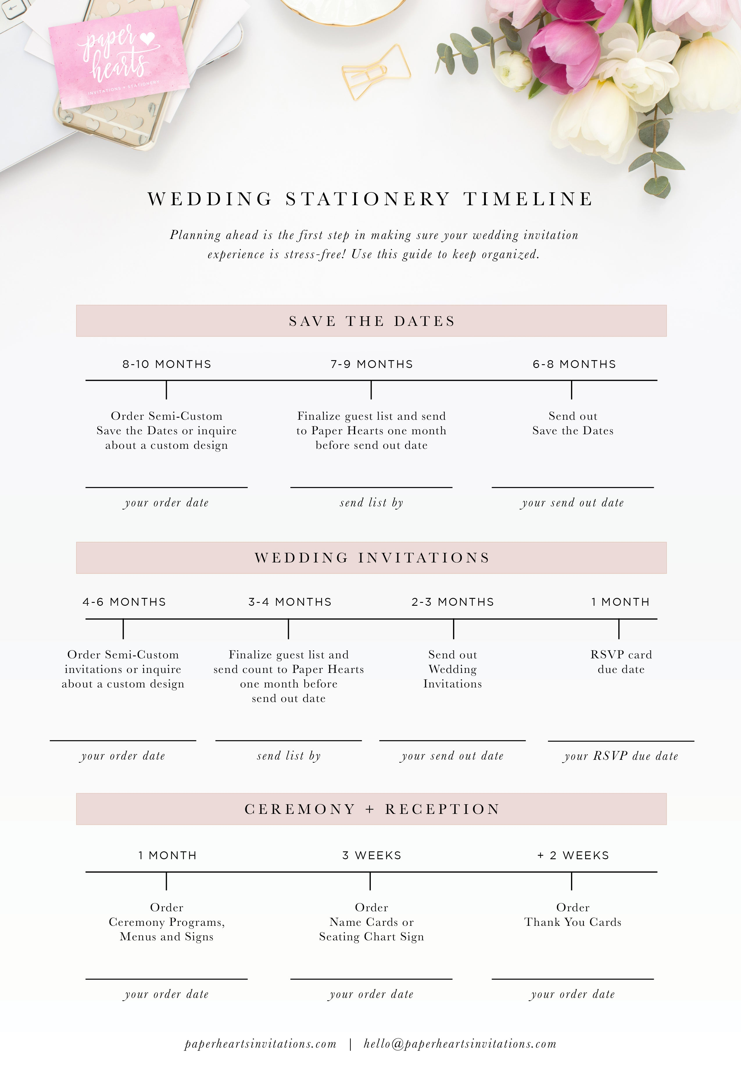 Paper Hearts Wedding Stationery Timeline