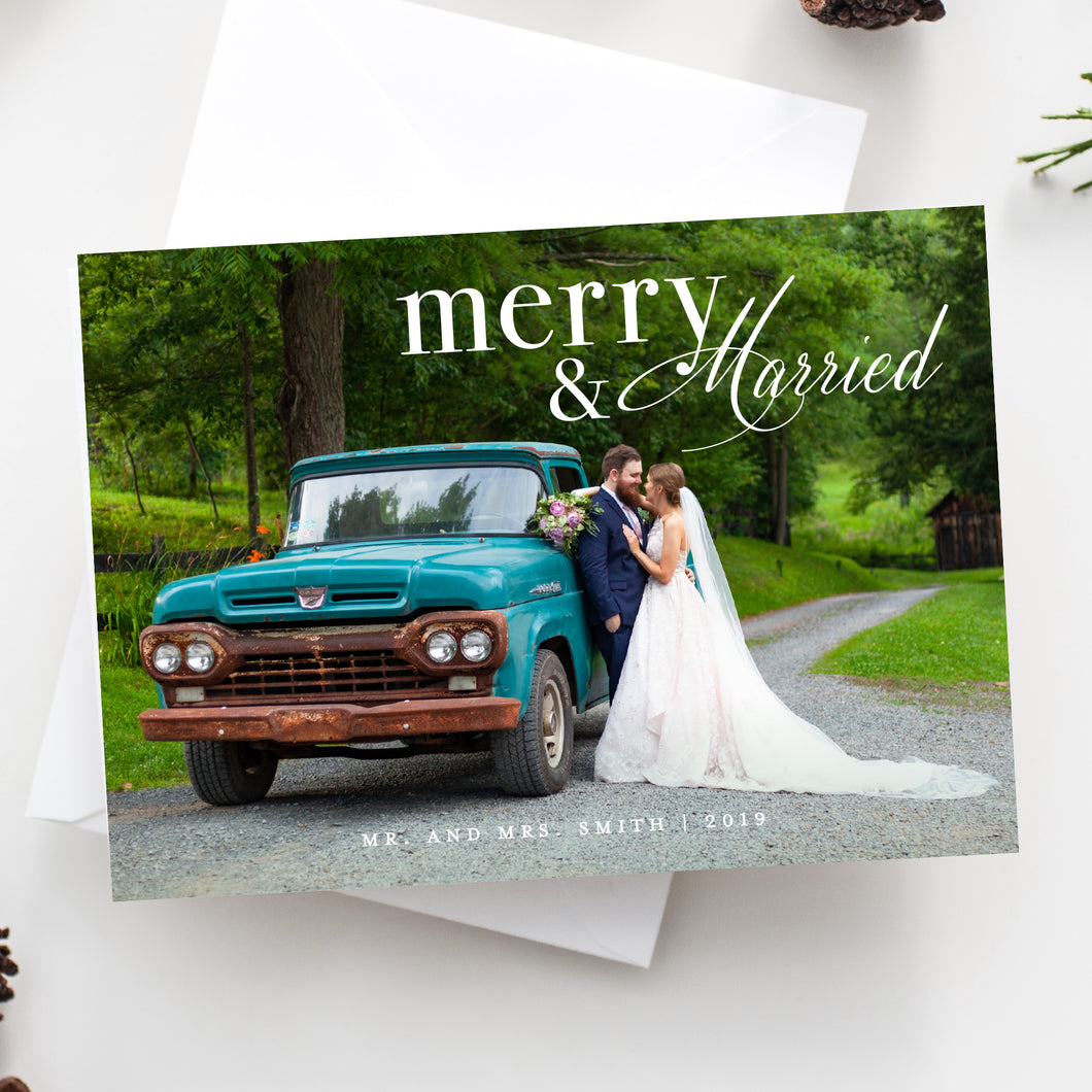 Merry and Married Holiday Card