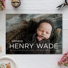 Load image into Gallery viewer, Modern Birth Announcement