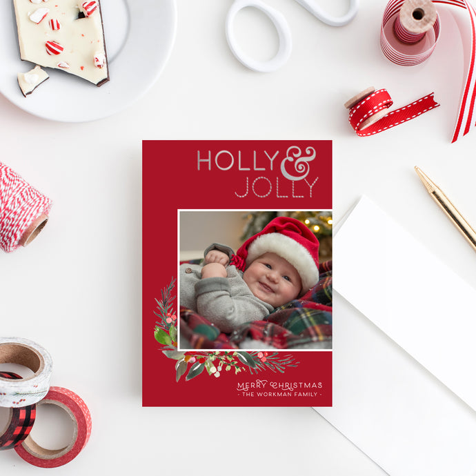 FOIL Holly Jolly Holiday Card