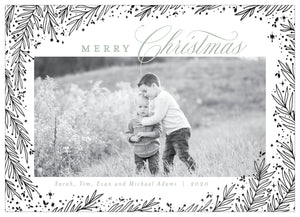 FOIL Pine Border Holiday Card