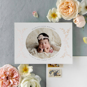 Real Foil - Delicate Florals Birth Announcement