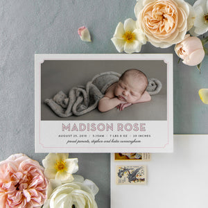 Block Name Pink Birth Announcement