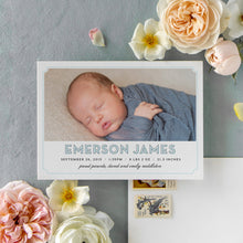 Load image into Gallery viewer, Block Name Blue Birth Announcement
