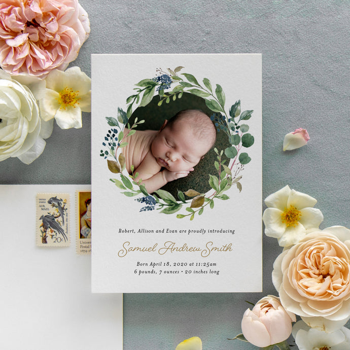 Greenery Wreath Birth Announcement