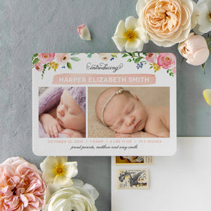 Watercolor Flower Birth Announcement