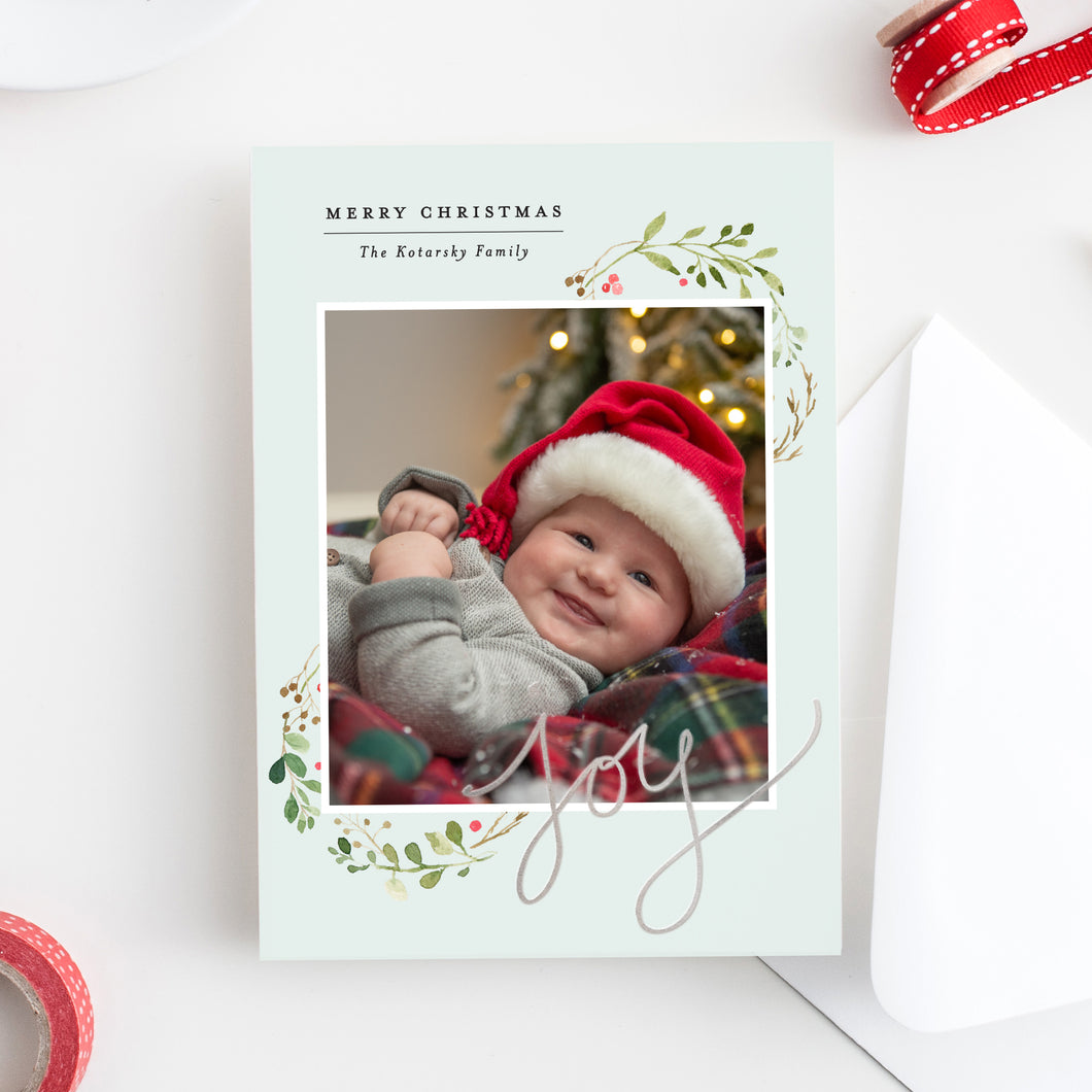 FOIL Joy Wreath Holiday Card