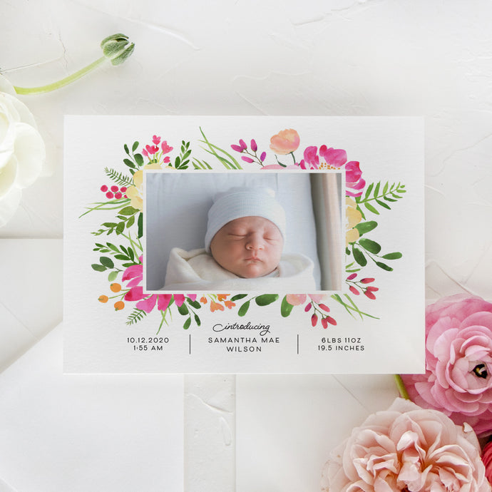 Summer Flowers Birth Announcement