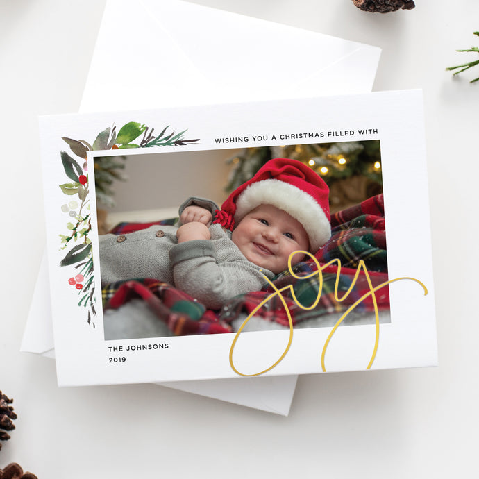FOIL Sweeping Joy Holiday Card