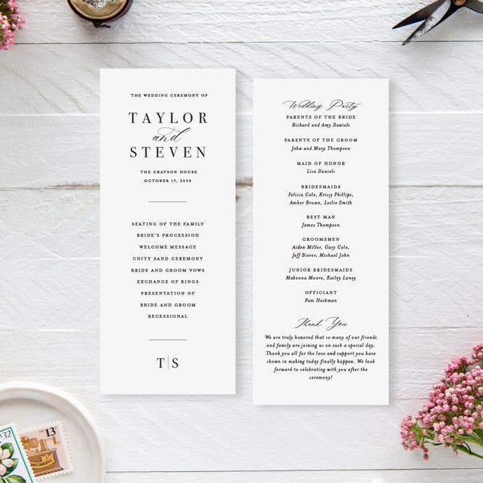 Taylor Ceremony Program