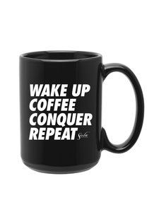 """Wake up, Coffee, Conquer, Repeat"" Coffee Mug (Large)"