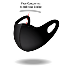 Load image into Gallery viewer, Reusable Black S Pattern Mask with Contouring Nose Bridge