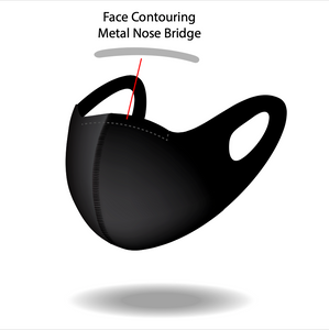 Reusable Black S Pattern Mask with Contouring Nose Bridge
