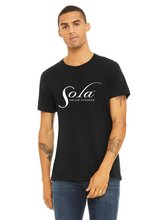Load image into Gallery viewer, Unisex Classic Sola Logo Short Sleeve Black Tee
