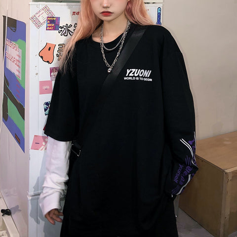 L1593 asymmetry fake long Tshirts