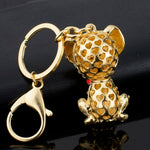 Load image into Gallery viewer, Gold Enamel Dalmatian Dog Keychain