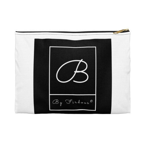 New By Firdous® UNISEX Black and White Signature Accessory Pouch