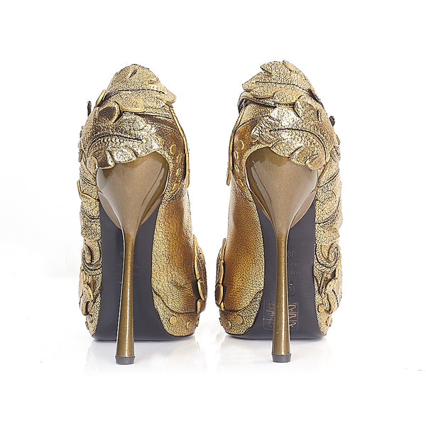Gold Peep-Toe Platforms 38.5